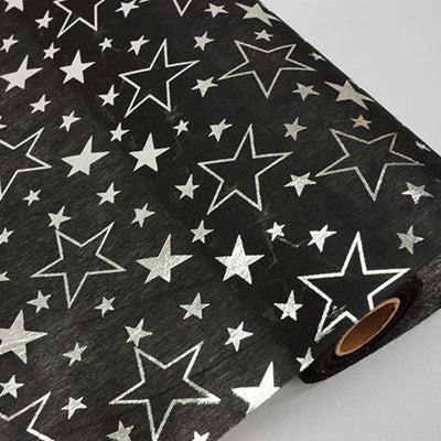 "Glossy Party Event Craft Non-Woven Star Design Fabric Bolt -Black/Silver- 19""x10Yards"