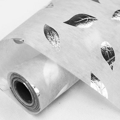 "Glossy Party Event Craft Non-Woven Leaf Design Fabric Bolt -Silver/White- 19""x10Yards"