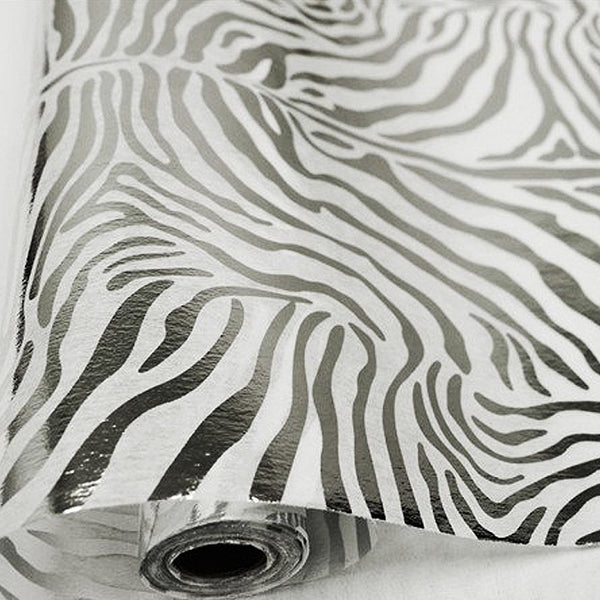"Glossy Party Event Craft Non-Woven Tiger Print Design Fabric -Silver/White- 19""x10Yards"