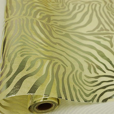 "Glossy Party Event Craft Non-Woven Tiger Print Design Fabric -Silver/Ivory- 19""x10Yards"