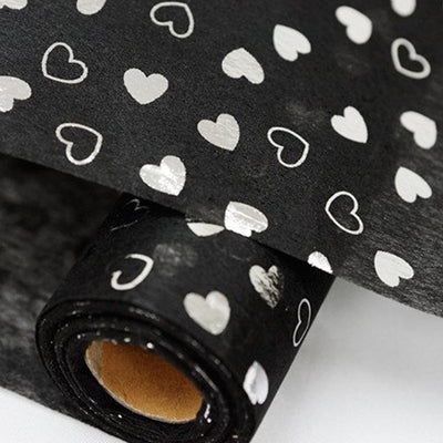 "Glossy Party Event Craft Non-Woven Heart Shower Design Fabric Bolt -Black/Silver- 19""x10Yards"