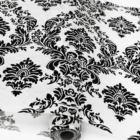 "Glossy Party Event Craft Non-Woven Damask Flocking Design Fabric Bolt -White/Black- 19""x10Yards ( Sold Out )"