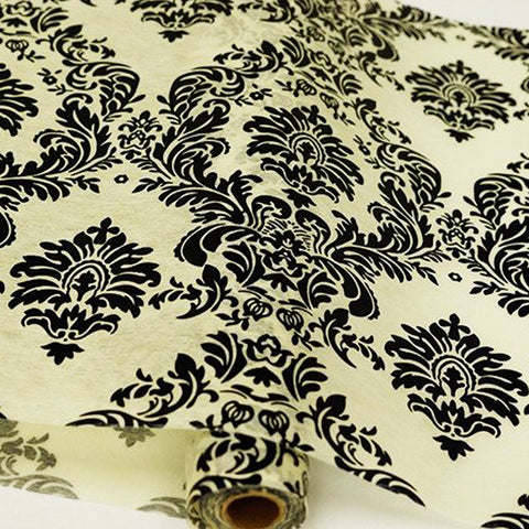 "Glossy Party Event Craft Non-Woven Damask Flocking Design Fabric Bolt -Ivory/Black- 19""x10Yards( Sold Out )"