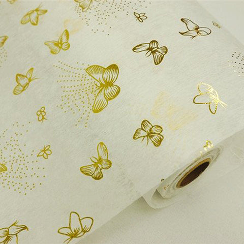 "Glossy Party Event Craft Non-Woven Butterfly Print Design Fabric Bolt -Gold/White- 19""x10Yards"