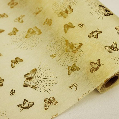 "Glossy Party Event Craft Non-Woven Butterfly Print Design Fabric Bolt -Gold/Ivory- 19""x10Yards"