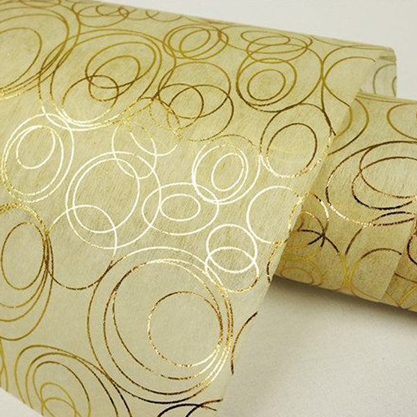 "Glossy Party Event Craft Non-Woven Weaving Round Design Fabric Bolt -Gold/Ivory- 19""x10Yards"