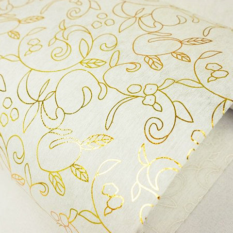 "Glossy Party Event Craft Non-Woven Antique Art Design Fabric Bolt -Gold/White- 19""x10Yards( Sold Out )"