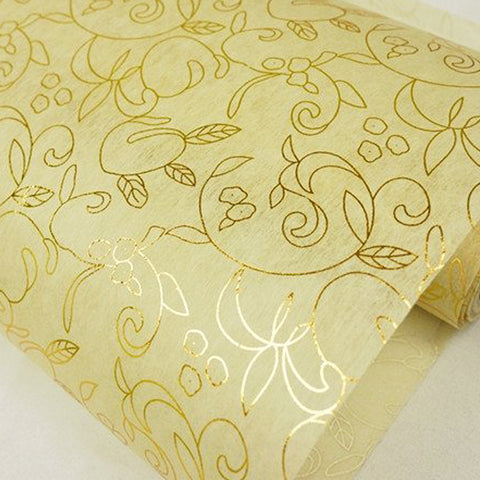 "Glossy Party Event Craft Non-Woven Antique Art Design Fabric Bolt -Gold/Ivory- 19""x10Yards"