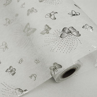 "Glossy Party Event Craft Non-Woven Flying Butterfly Design Fabric Bolt -Silver/White- 19""x10Yards"