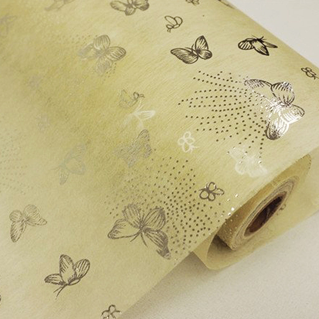 Glossy Party Event Craft Non Woven Flying Butterfly Design Fabric