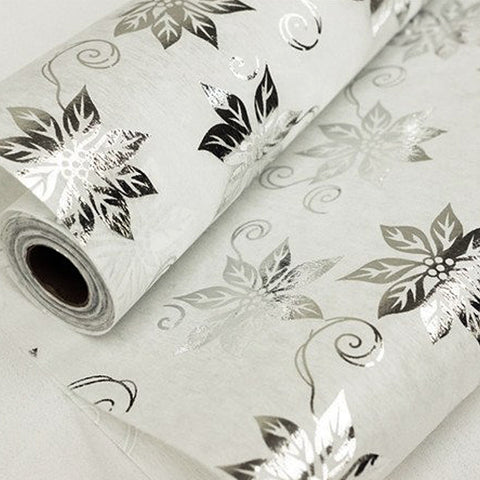 "Glossy Party Event Craft Non-Woven Big Flower Design Fabric Bolt -Silver/White- 19""x10Yards"