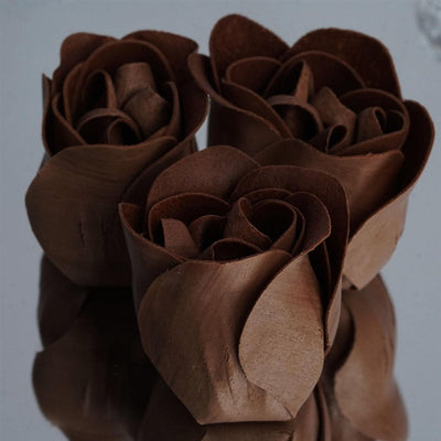 Chocolate Heart Rose Flower Petal Soap Favor Wedding Decoration Party Gift - Pack of 6