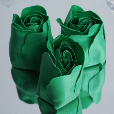 Emerald Green Heart Rose Flower Petal Soap Favor Wedding Decoration Party Gift - Pack of 6