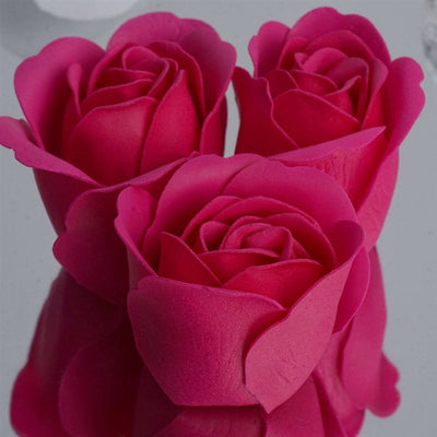 Fushia Heart Rose Flower Petal Soap Favor Wedding Decoration Party Gift - Pack of 6