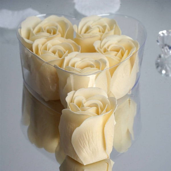 Ivory Heart Rose Flower Petal Soap Favor Wedding Decoration Party Gift - Pack of 6