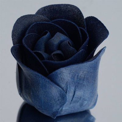 Navy Blue Heart Rose Flower Petal Soap Favor Wedding Decoration Party Gift - Pack of 6