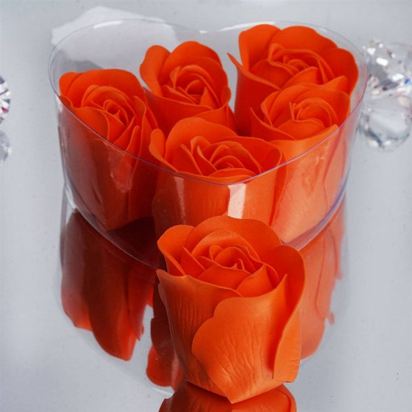 Orange Heart Rose Flower Petal Soap Favor Wedding Decoration Party Gift - Pack of 6