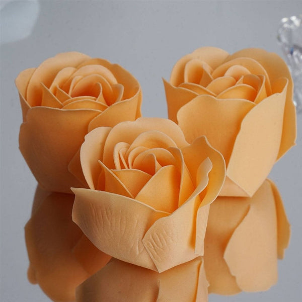 Peach Heart Rose Flower Petal Soap Favor Wedding Decoration Party Gift - Pack of 6