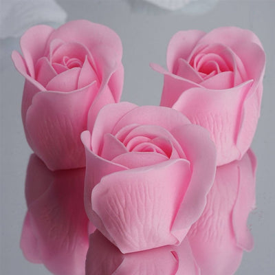 Pink Heart Rose Flower Petal Soap Favor Wedding Decoration Party Gift - Pack of 6