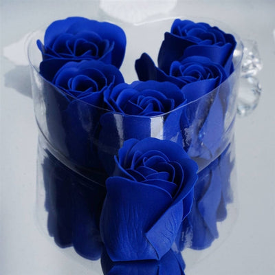 Royal Blue Heart Rose Flower Petal Soap Favor Wedding Decoration Party Gift - Pack of 6