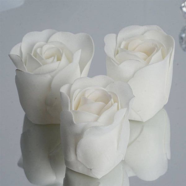 White Heart Rose Flower Petal Soap Favor Wedding Decoration Party Gift - Pack of 6