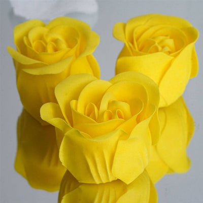 Yellow Heart Rose Flower Petal Soap Favor Wedding Decoration Party Gift - Pack of 6