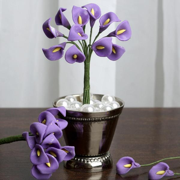 72 Eco Friendly Handmade Lavender Calla Lily Flowers For DIY Home Decor Craft Supplies