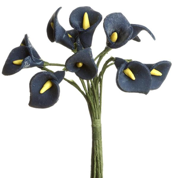 72 Eco Friendly Handmade Navy Blue Calla Lily Flowers For DIY Home Decor Craft Supplies
