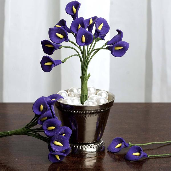 72 Eco Friendly Handmade Purple Calla Lily Flowers For DIY Home Decor Craft Supplies