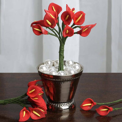 72 Eco Friendly Handmade Red Calla Lily Flowers For DIY Home Decor Craft Supplies