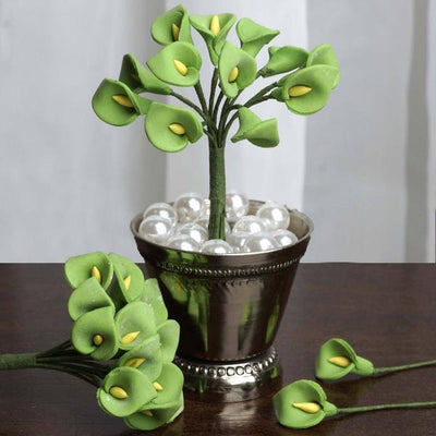 72 Eco Friendly Handmade Sage Green Calla Lily Flowers For DIY Home Decor Craft Supplies