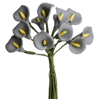 72 Eco Friendly Handmade Silver Calla Lily Flowers For DIY Home Decor Craft Supplies