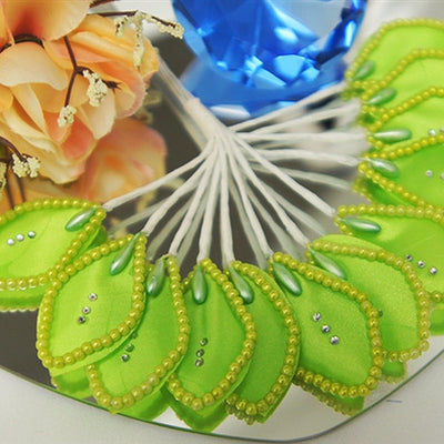 144 Apple Green Poly Corsage and Boutonniere Wired Craft Leafs With Faux Pearls & Rhinestones For DYI Wedding Projects
