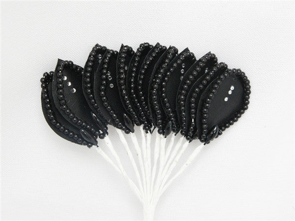 144 Black Poly Corsage and Boutonniere Wired Craft Leafs With Faux Pearls & Rhinestones For DYI Wedding Projects