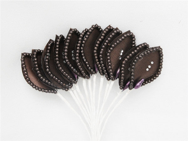 144 Chocolate Poly Corsage and Boutonniere Wired Craft Leafs With Faux Pearls & Rhinestones For DYI Wedding Projects