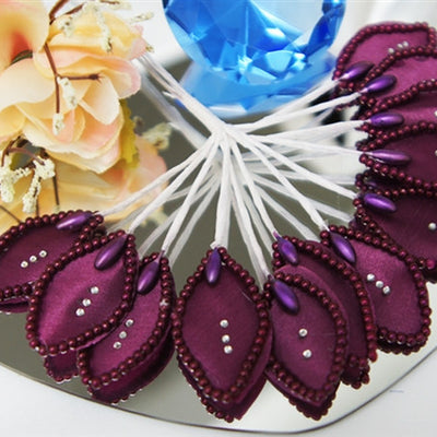 144 Eggplant Poly Corsage and Boutonniere Wired Craft Leafs With Faux Pearls & Rhinestones For DYI Wedding Projects