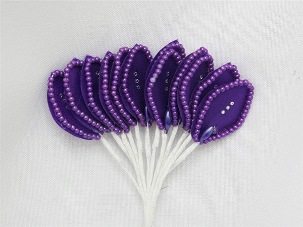 144 Purple Poly Corsage and Boutonniere Wired Craft Leafs With Faux Pearls & Rhinestones For DYI Wedding Projects