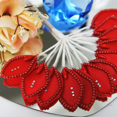 144 Red Poly Corsage and Boutonniere Wired Craft Leafs With Faux Pearls & Rhinestones For DYI Wedding Projects