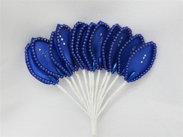 144 Royal Blue Poly Corsage and Boutonniere Wired Craft Leafs With Faux Pearls & Rhinestones For DYI Wedding Projects