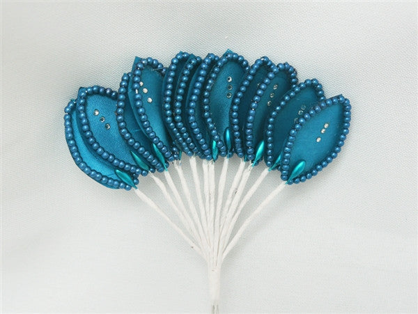 144 Turquoise Poly Corsage and Boutonniere Wired Craft Leafs With Faux Pearls & Rhinestones For DYI Wedding Projects