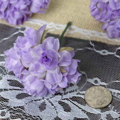 72 Lavender Silk Semi Bloomed Craft Roses DIY Wedding Bouquet Flowers Decoration