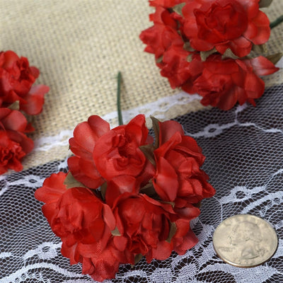 72 Red Silk Semi Bloomed Craft Roses DIY Wedding Bouquet Flowers Decoration