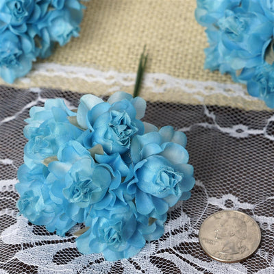 72 Turquoise Silk Semi Bloomed Craft Roses DIY Wedding Bouquet Flowers Decoration