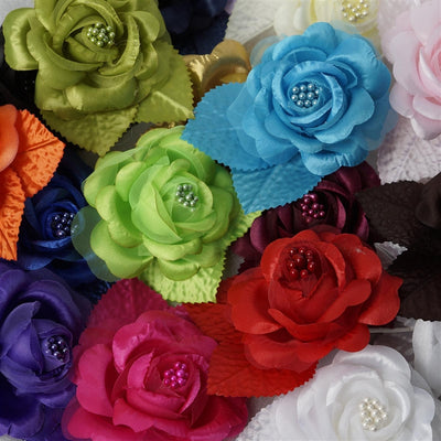 12pcs Black Mini Satin Ribbon Rose Flower Pearl Spray Wedding Appliques Sewing Decor Craft Supplies