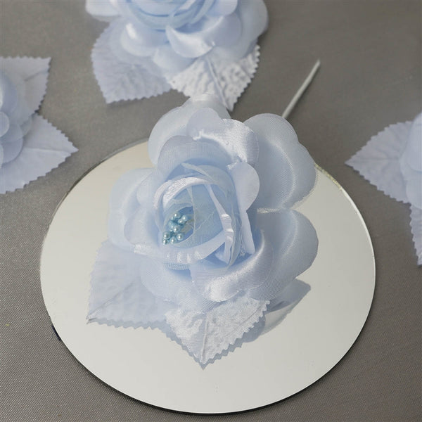 12pcs Light Blue Mini Satin Ribbon Rose Flower Pearl Spray Wedding Appliques Sewing Decor Craft Supplies