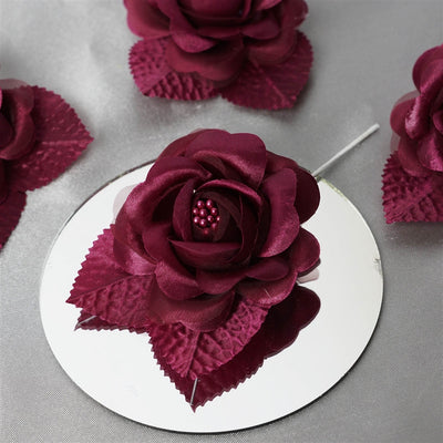 12pcs Burgundy Mini Satin Ribbon Rose Flower Pearl Spray Wedding Appliques Sewing Decor Craft Supplies