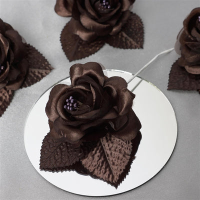 12pcs Chocolate Mini Satin Ribbon Rose Flower Pearl Spray Wedding Appliques Sewing Decor Craft Supplies