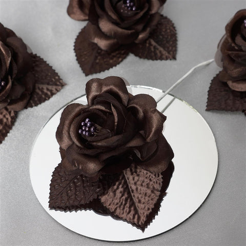 12 ACCENT Bellissimo Craft Roses - Chocolate