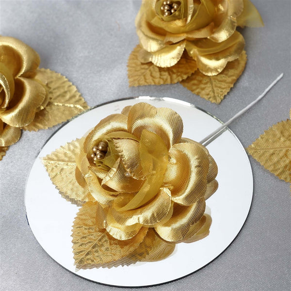 12pcs Gold Mini Satin Ribbon Rose Flower Pearl Spray Wedding Appliques Sewing Decor Craft Supplies