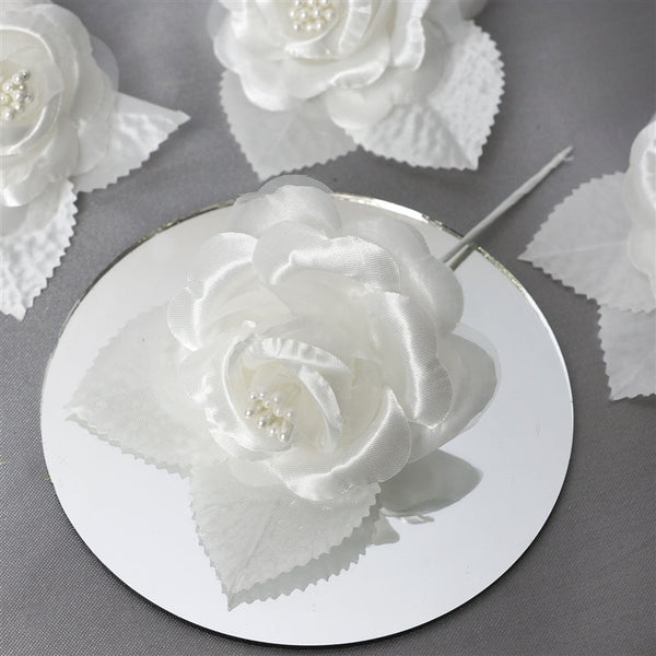 12pcs Ivory Mini Satin Ribbon Rose Flower Pearl Spray Wedding Appliques Sewing Decor Craft Supplies